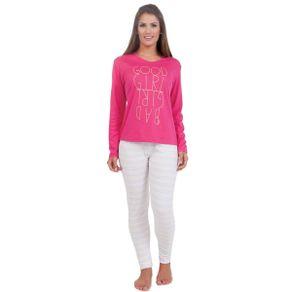 Pijama-Adulto-Fashion-com-Estampa-na-Frente-da-Blusa-e-Calca-Listrada-Victory