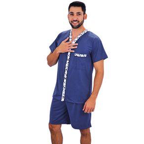 Pijama-curto-camiseta-com-detalhe-listrado-e-abertura-em-botoes--shorts-liso---Gatto-Style