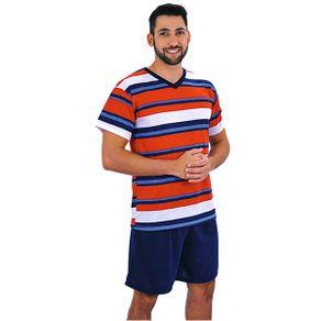 Pijama-curto-em-algodao-com-camiseta-listrada-e-shorts-liso---Gatto-Style
