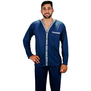 Pijama-longo-em-algodao-blusa-com-abertura-em-botoes-e-detalhes-estampados-calca-lisa---Gatto-Style
