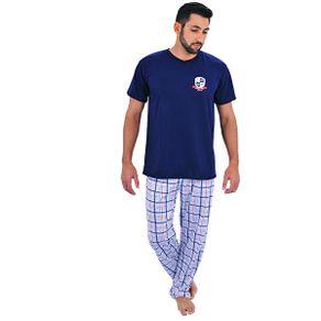 Pijama-longo-em-algodao-blusa-com-detalhe-de-estampa-e-calca-quadriculada---Gatto-Style