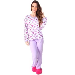 Pijama-longo-em-algodao-com-blusa-estampada-e-calca-lisa---Gatto-Style