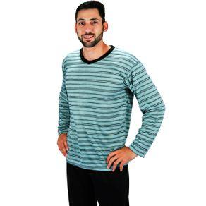 Pijama-longo-em-algodao-com-blusa-listrada-e-calca-lisa---Gatto-Style