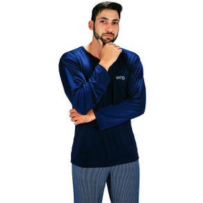 Pijama-longo-em-liganete-com-blusa-lisa-e-calca-listrada---Gatto-Style