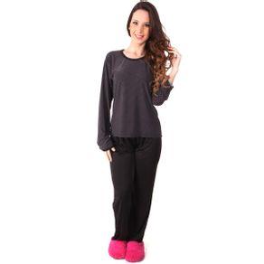 Pijama-senhora-longo-em-liganete-com-blusa-poa-e-calca-lisa---Gatto-Style