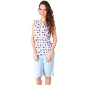 Pijama-senhora-regata-estampada-e-capri-liso---Gatto-Style