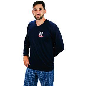 Pijama-longo-em-algodao-com-blusa-gola-V-estampada-e-calca-quadriculada---Gatto-Style