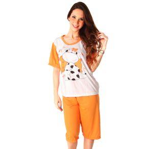 Pijama-Feminino-Estampado-em-Silk-Camiseta-e-Bermuda-em-Malha-PV-Pimenta-Sexy