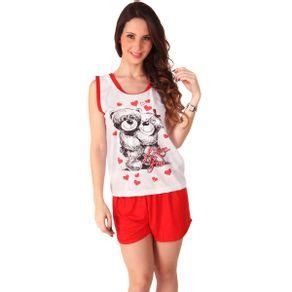 Short-Doll-Regata-com-Estampa-de-Urso-e-Shorts-Liso-em-Malha-PV-Pimenta-Sexy